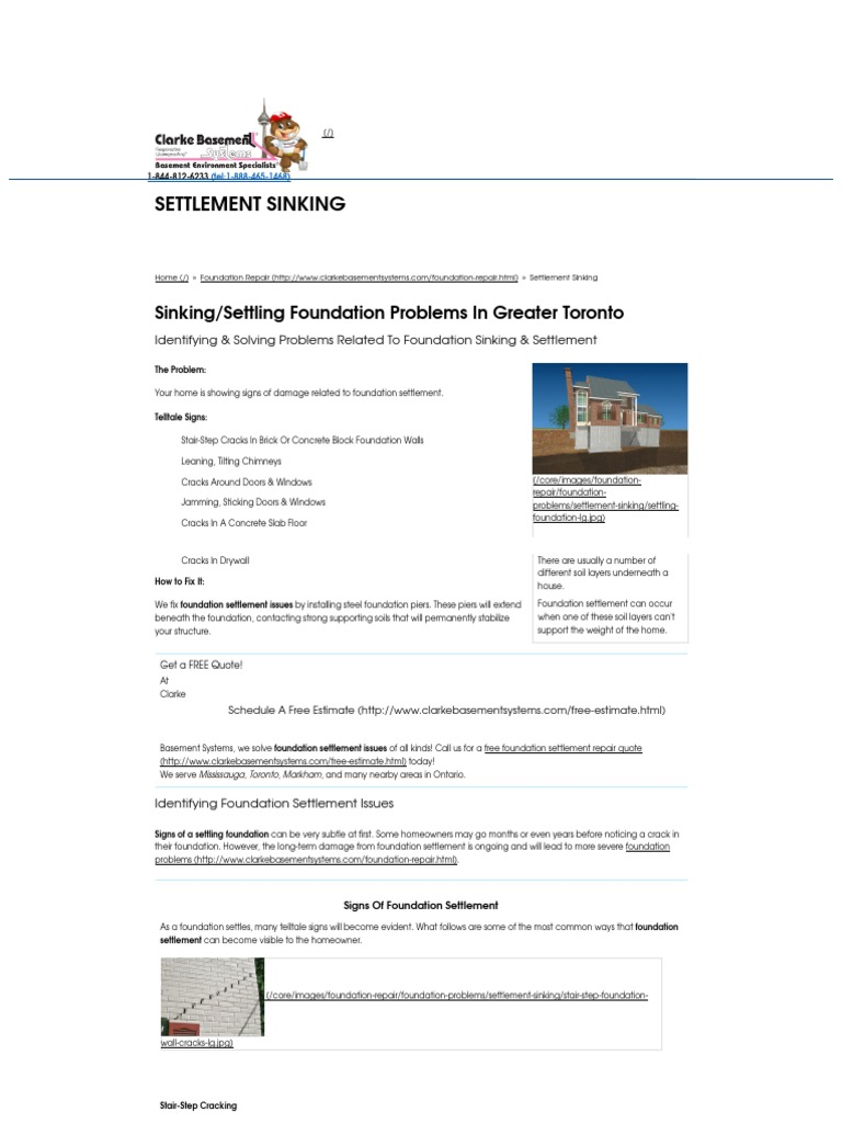 Sinking Settling Foundation Repair Pdf Foundation Engineering Basement