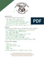 Carta Materiales Hogwarts y Permiso Hogsmeade