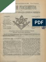 Boletín de Procedimientos Del Soberano Gran Consejo General Ibérico y Gran Logia Simbólica Española. 5-10-1889