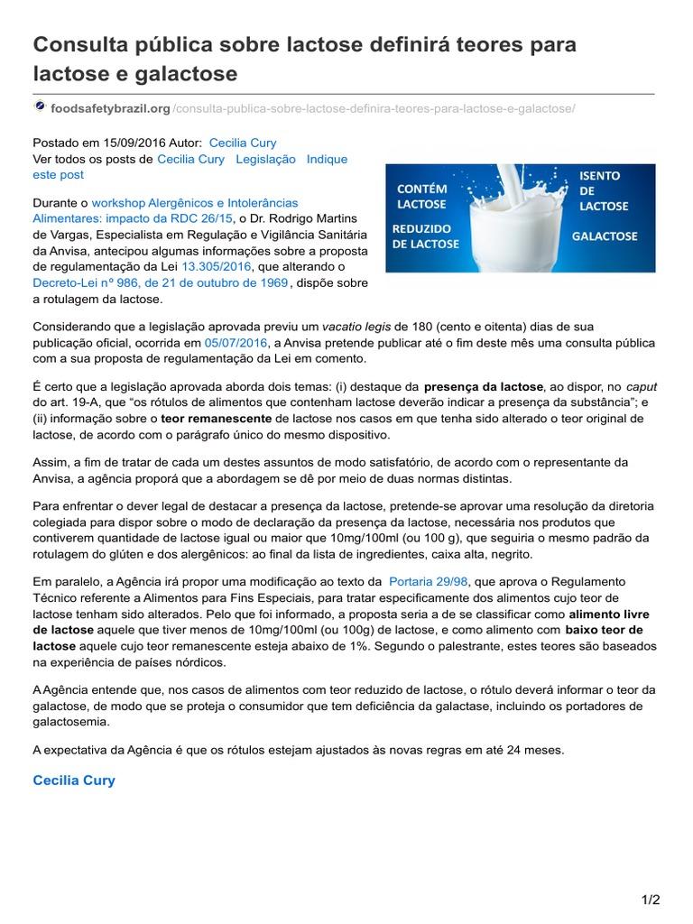 Foodsafetybrazil Org Consulta P Blica Sobre Lactose Definir Teores