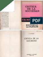 Bottomore, Tom - Crítica de La Sociedad, Ed. La Pléyade, 1970