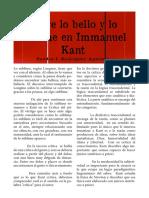 Sobre lo bello y lo sublime en Immanuel Kant