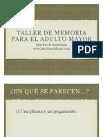 Taller de Memoria Para El Adulto Mayor - Ejercicio de Semejanzass