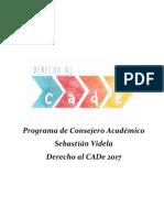 Programa Consejeria Derecho al CADe 2017