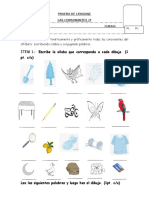 Prueba de Lenguaje Primero Letras l m p Primero Basico