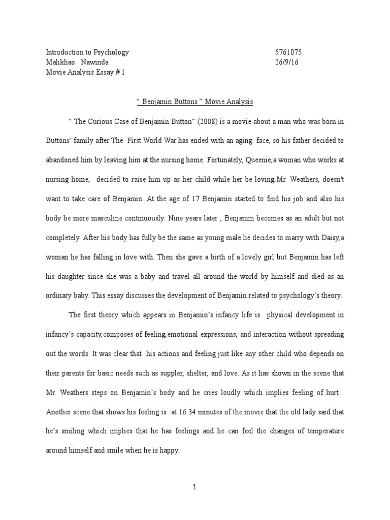 the curious case of benjamin button reaction paper