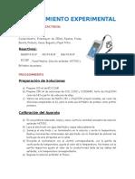 Procedimiento Experimental, Tabulación de Datos y Resultados