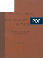 John Aspinwall Haddens Loan Collection of War Medals to the New York Metropolitan Museum of Art Private Catalogue 30th August 1890