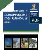Energias renovables y eficiencia energetica en el Estado Plurinacional de Bolivia