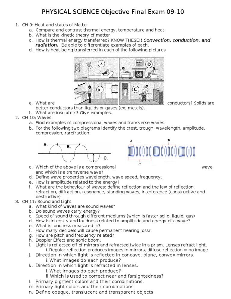 PHYSICAL SCIENCE Objective Final Exam Study Guide 09-10