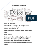 poetry recital competition poster