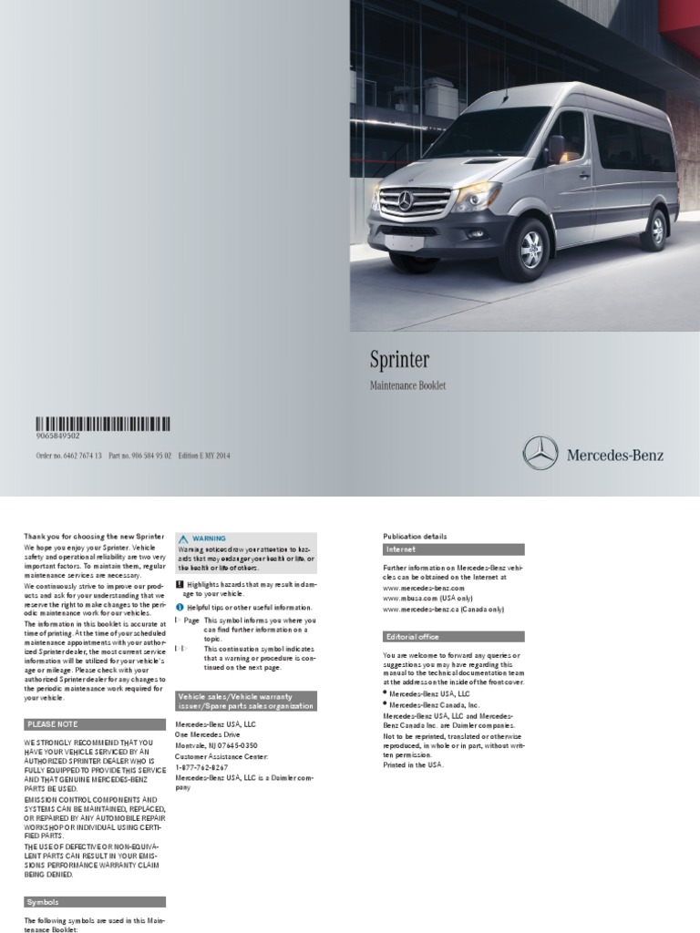 2014 Mercedes Benz Sprinter Maintenance Manual Tire Diesel Fuel 2012 Filter Location