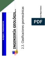 2.3 . Clasificaciones Geomecánicas