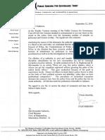 J.F Ribiero's Letter to Devendra Fadnavis