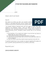 Request Letter for Teachers Job Transfer
