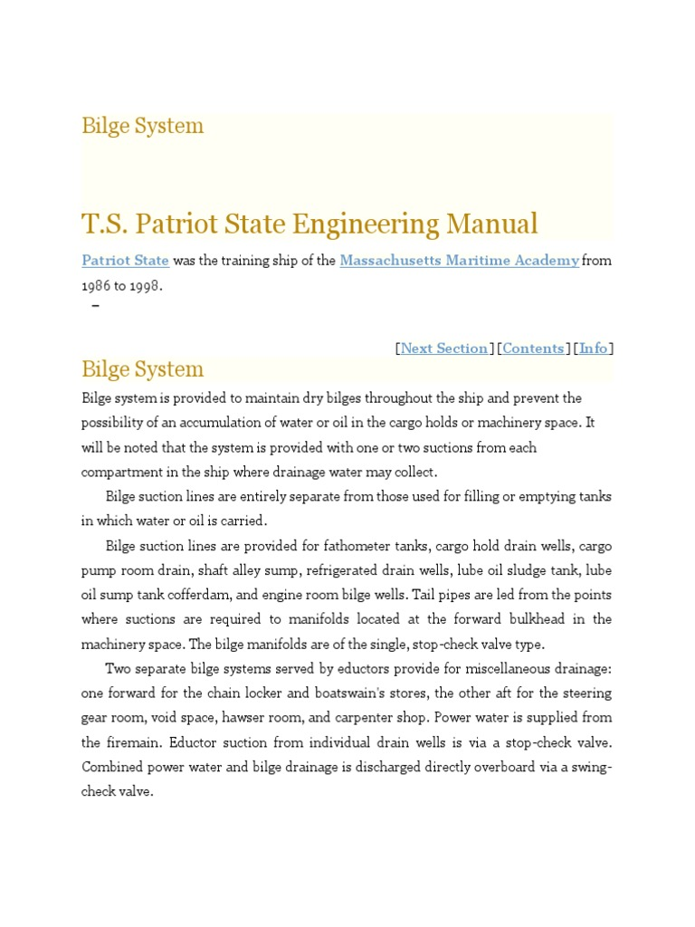 Bilge System - TS Patriot State Engineering Manual | Pump | Hydraulic  Engineering