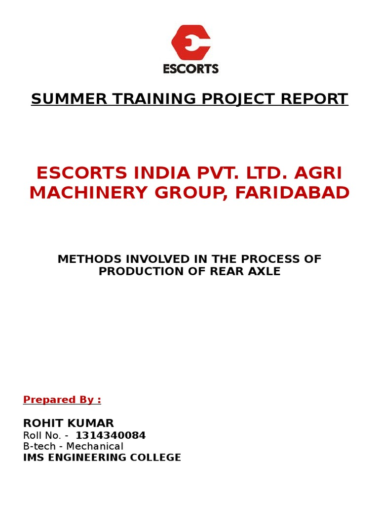 101125206 Escorts Summer Training Project Report.docx 2 | Tractor |  Grinding (Abrasive Cutting)