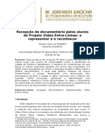 Recepção de Documentário Pelos Alunos Do Projeto Vídeo Entre-Linhas - o Representar e o Reconhecer