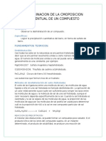 QUIMICA INFORME LABORATORIO-COMPOSICIÓN PORCENTUAL DE UN ELEMENTO