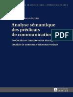 Analyse Sémantique Des Prédicats de Communication - Peter Lang