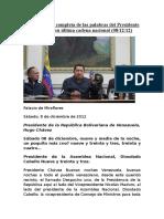 Transcripción Completa de Las Palabras Del Presidente Chávez en Su Última Cadena Nacional