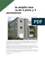 Plano de Amplia Casa Moderna de 3 Pisos y 3 Dormitorios