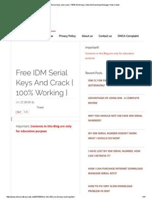 free idm serial number 100& working