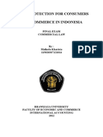 LEGAL PROTECTION FOR CONSUMERS ON E-COMMERCE IN INDONESIA