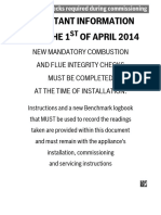 Benchmark Commissioning Checklist Effective From 1st April 2014