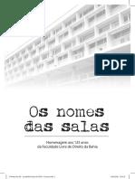 Os Nomes Das Salas - Faculdade Direito Da UFBA - Edição de Comemoração 125 anos