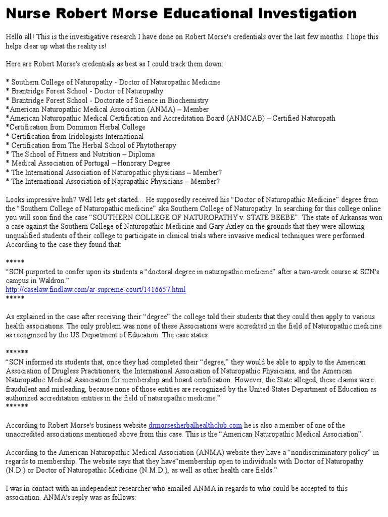 Nurse' Robert Morse Educational Investigation | Naturopathy