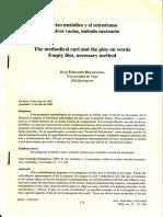 El rizo metódico y el retruécano archivos vacíos, método necesario- Juan Fernando Delaiglesia