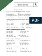 Ejercicios Expresiones Algebraicas 2º Eso