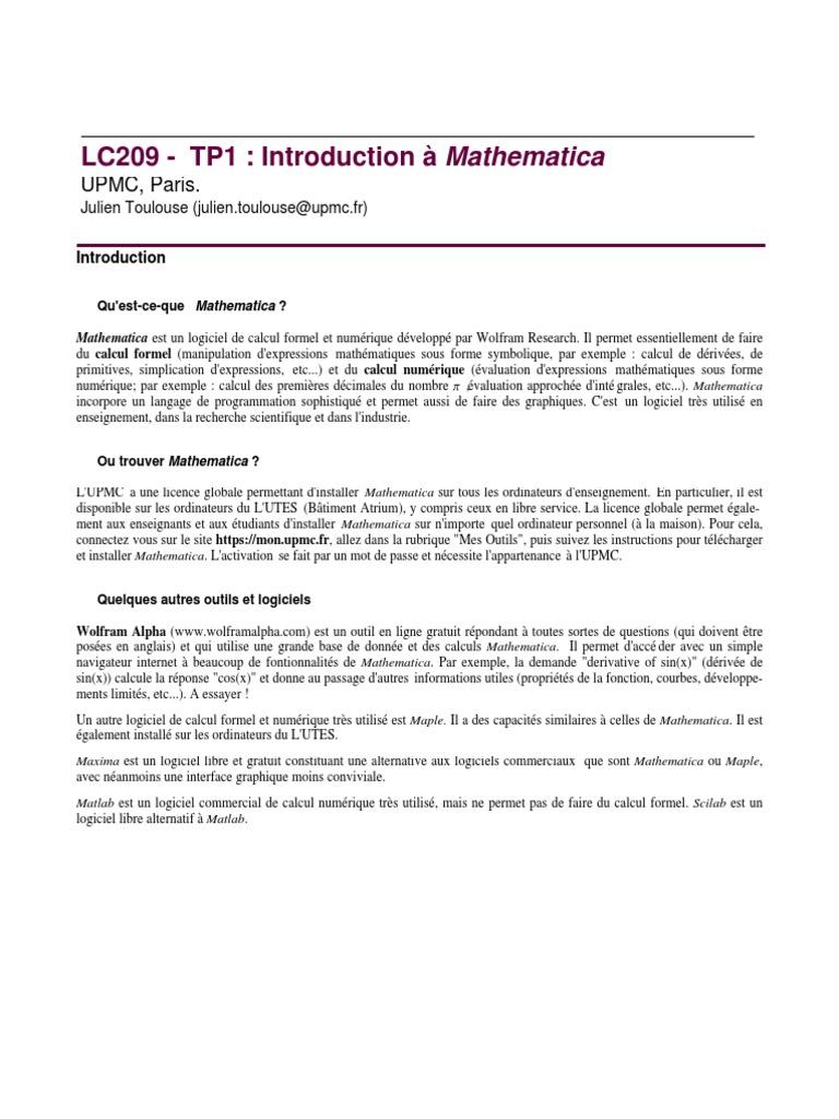 mathematica upmc