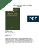 Resumen de El Contrato Social , Del Autor Jean Jacques Rousseau