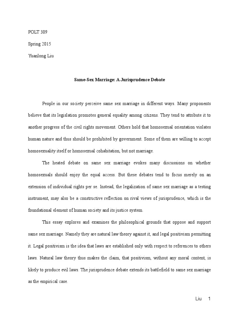 Same Sex Marriage Thesis Statement