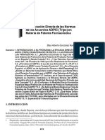 La Aplicación Directa de las Normas de los Acuerdos ADPIC (Trips) en Materia de Patente Farmacéutica