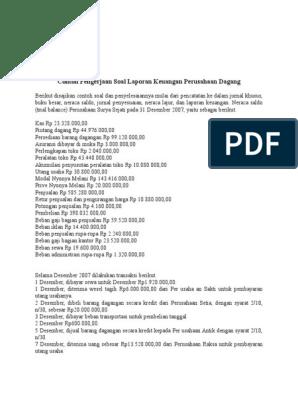 Contoh Pengerjaan Soal Laporan Keuangan Perusahaan Dagang