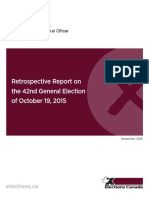 Office of the Chief Electoral Officer of Canada - Retrospective Report on the 42nd General Election of October 19, 2015
