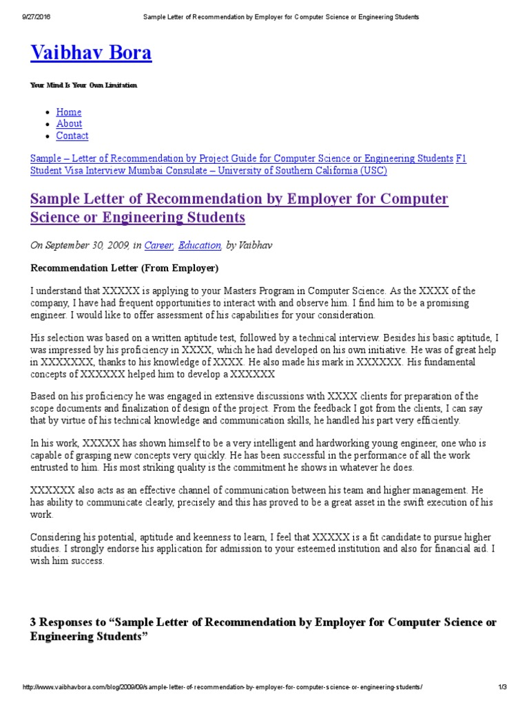 Sample Letter of Recommendation by Employer for Computer Science or