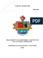 Reglamento de Uniformes y Distintivos de La Fuerza Terrestre