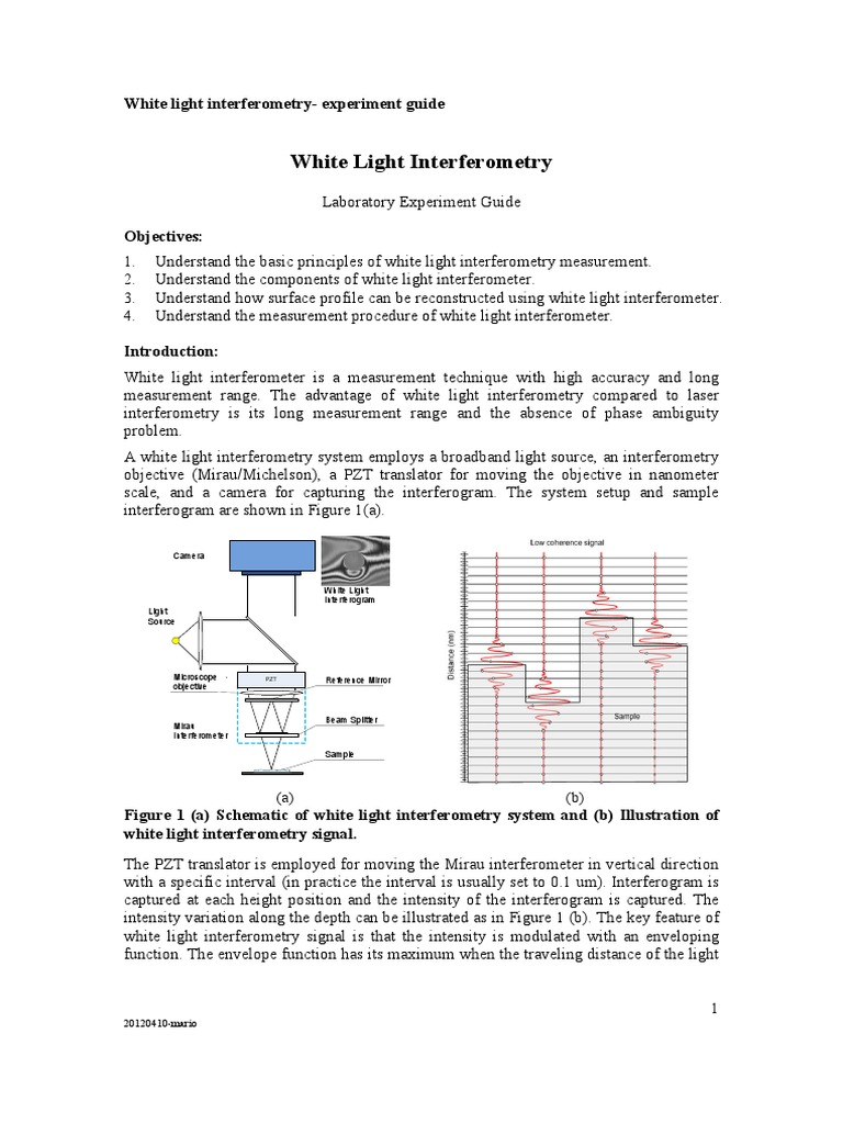 White Light Interferometry_lab Guide | Interferometry | Optics