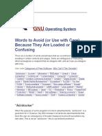 Words to Avoid GNU