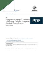 Negligent HIV Testing and False-Positive Plaintiffs- Pardoning Th