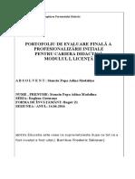 Structura Portofoliu Absolvire Nivel I