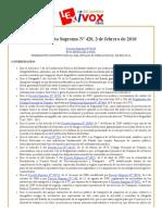 Bolivia_ Decreto Supremo Nº 420, 3 de Febrero de 2010