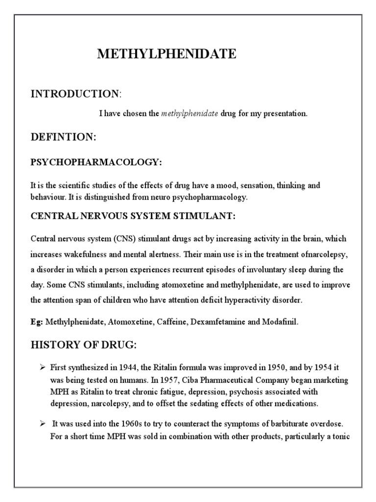 Methylphenidate Final | Stimulant | Drugs