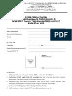 Form Pendaftaran KKNP IE FEB UB 2016-2017