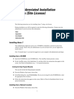 Site License Installation Instructions (Abbreviated)