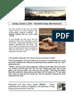 Pastor Bill Kren's Newsletter - October 2, 2016